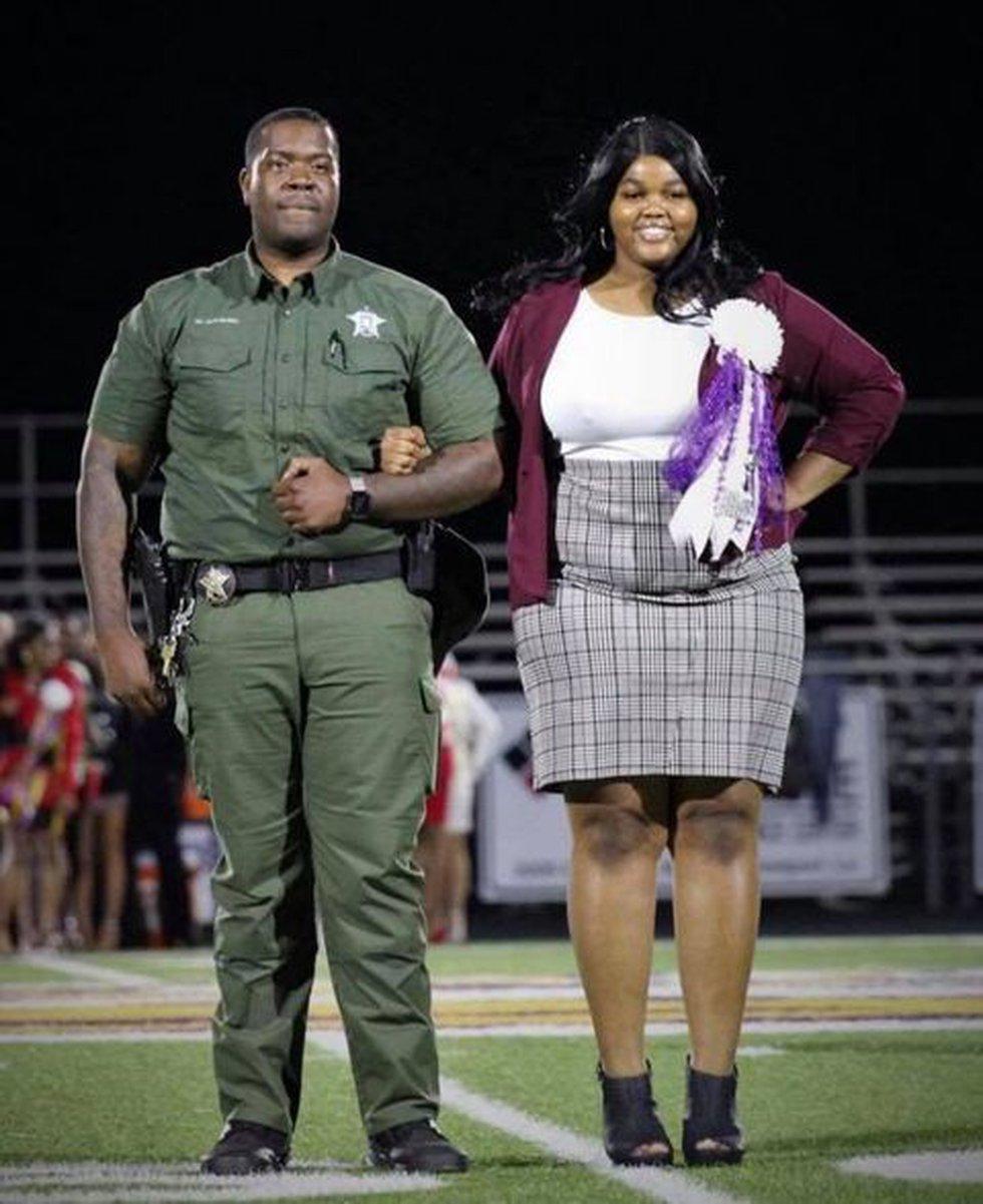 DeSoto Parish Sgt. Kevin Coleman with Logansport sophomore Skyler Jones.