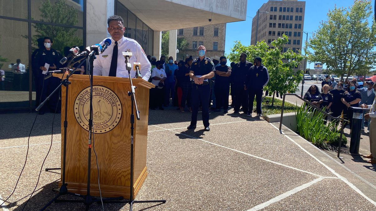 Shreveport city officials held a news conference Wednesday, May 5, 2021 about recent gun...