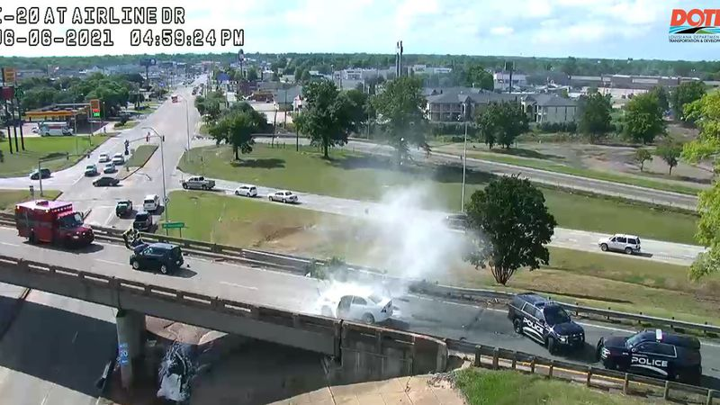 An accident prompted the temporary closure of the westbound Interstate 20 overpass at Airline...