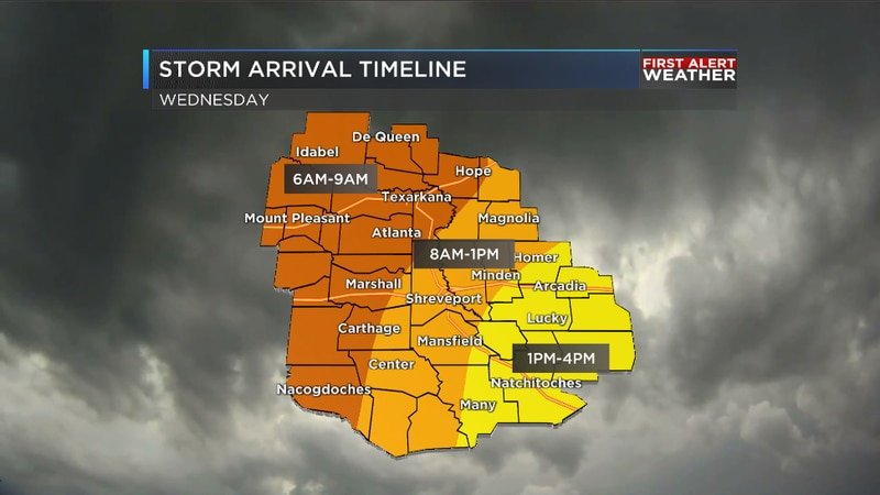 Expected timing of severe storms on Wednesday