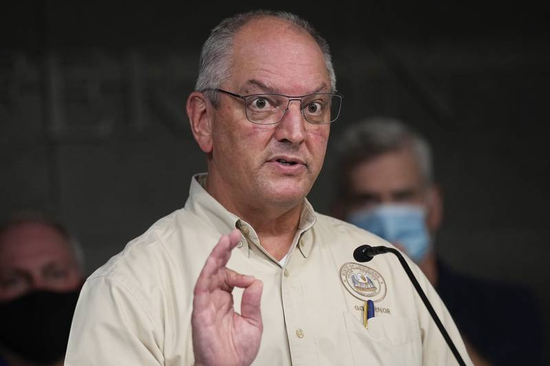 Louisiana Gov. John Bel Edwards speaks during news conference In the aftermath of Hurricane Ida...