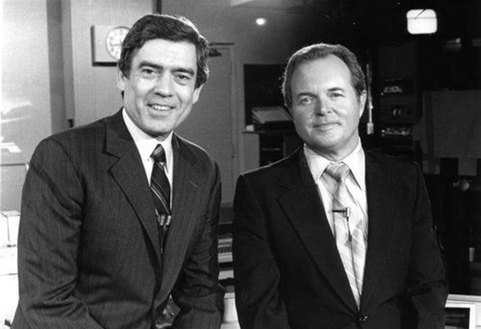 KSLA News 12 anchor Don Owen and then-CBS Evening News anchor Dan Rather