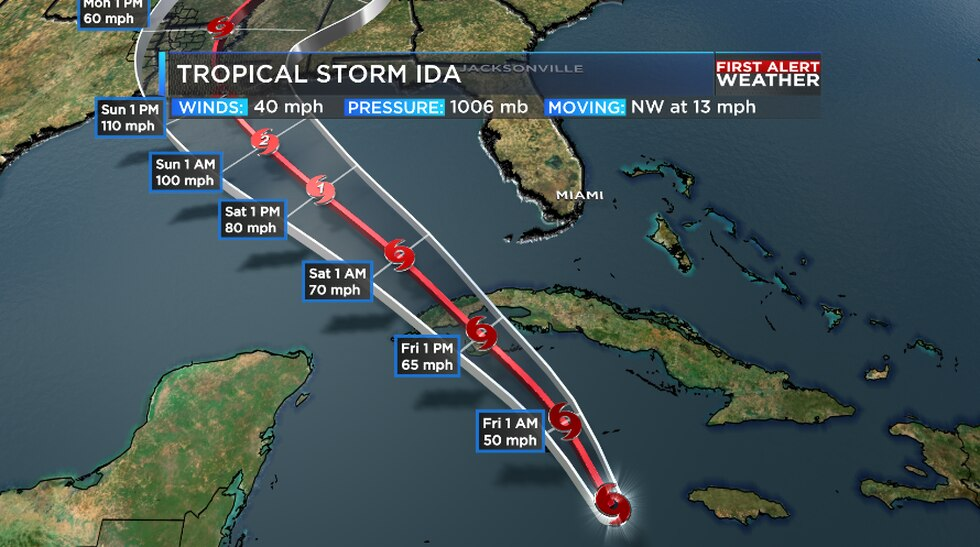 Ida is forecast to track from the Caribbean into the Gulf through Saturday