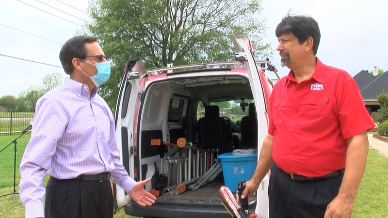 Jorge Negron is co-owner of the local franchise of Fish Window Cleaning in Benton describes the...