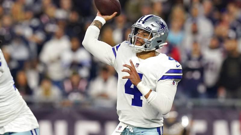 Dallas Cowboys quarterback Dak Prescott (4) throws during the second half of an NFL football...