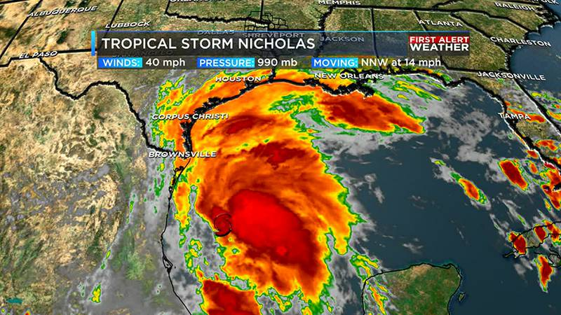 Tropical Storm Nicholas in the Gulf