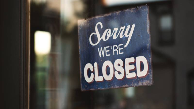 """Generic """"Sorry, we're closed"""" sign."""