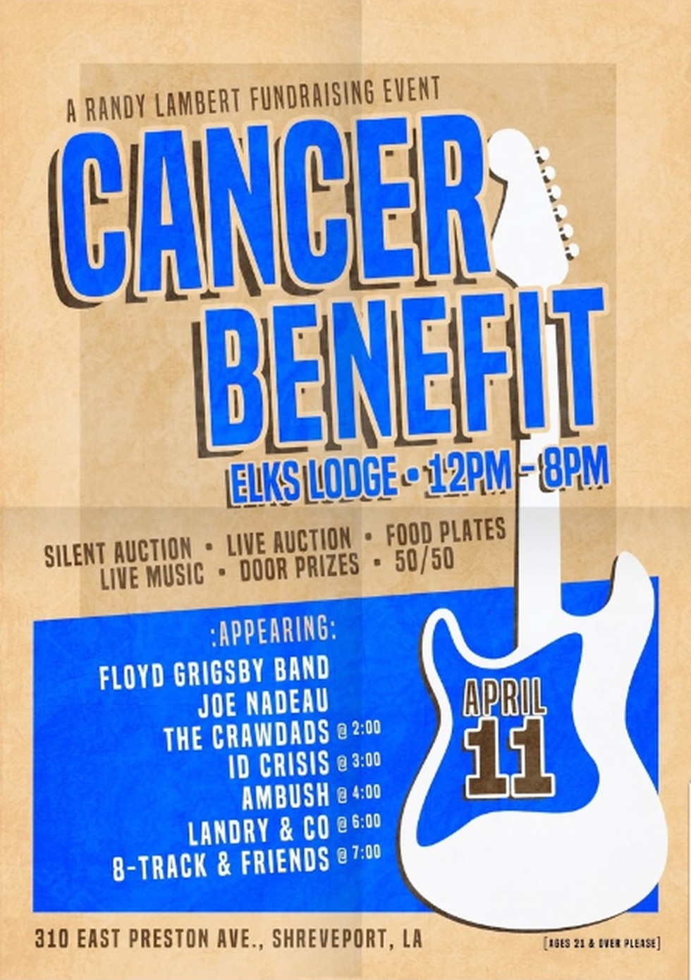 A benefit concert event is planned for April 11, 2021 at the Elks Lodge in Shreveport to help...