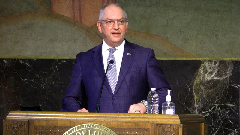 FILE - Louisiana Gov. John Bel Edwards speaks about his decision to expand COVID-19 vaccine...