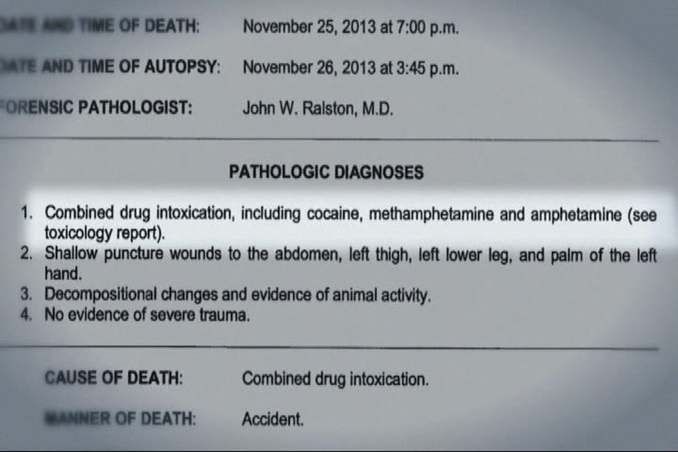 Official autopsy says Wright died from an accidental drug overdose. Wright's family hired a...