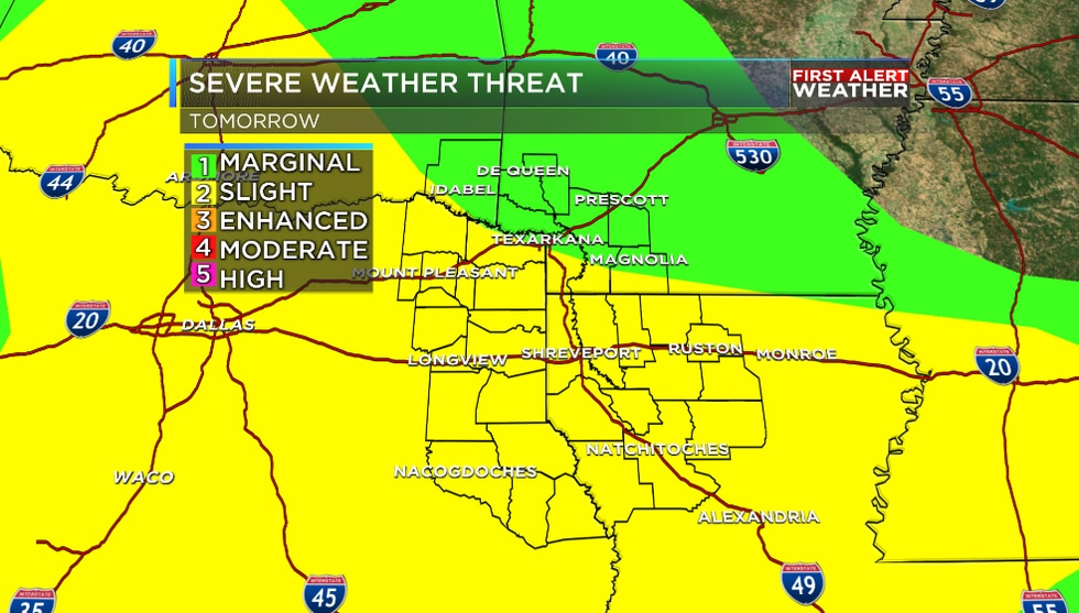 Much of the ArkLaTex is under a 'Slight' risk of severe weather Friday