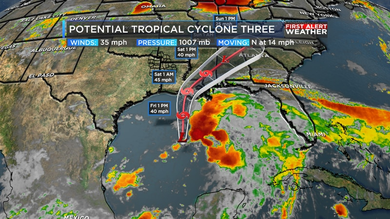 We are tracking what is likely to be Claudette moving north through the Gulf of Mexico.