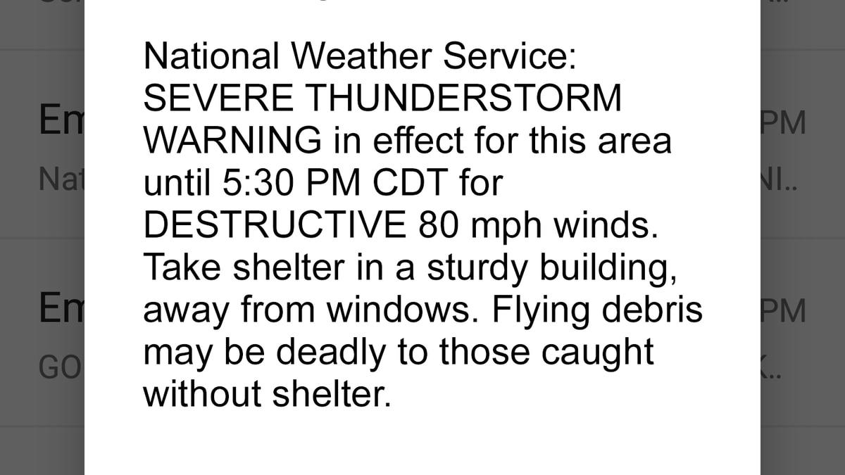 """Destructive"" severe thunderstorms will trigger this wireless emergency alert"