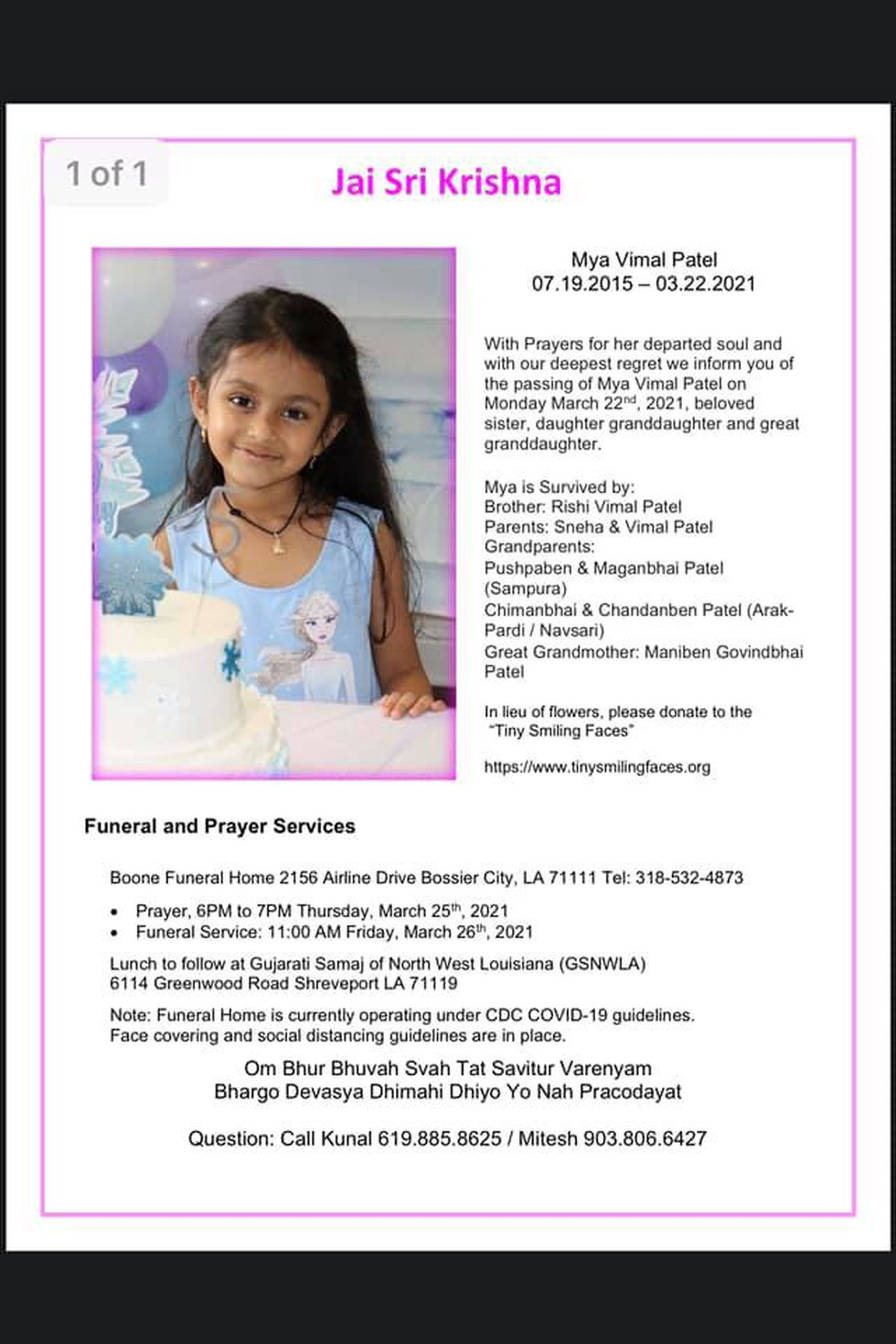 Mya Patel's funeral will be held Thursday, March 25, 2021.