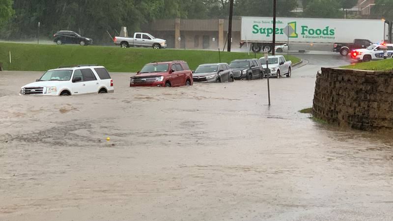 Pictured is some of the flooding near the intersection of Douglas and Noble in Tyler. (Source:...
