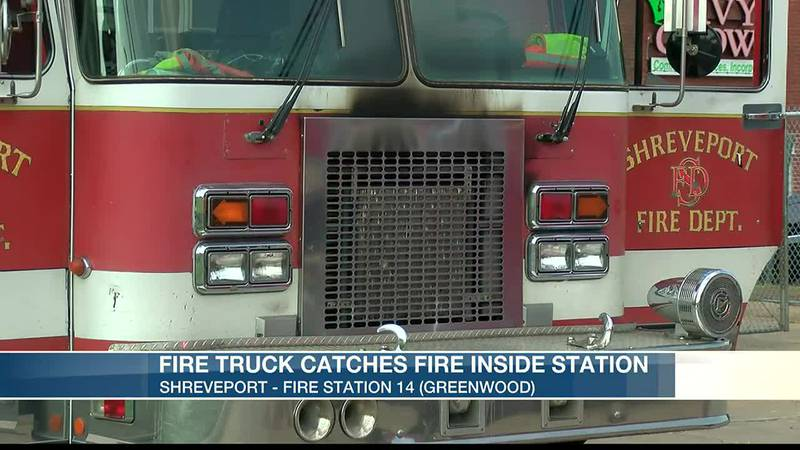 Fire truck catches fire inside station