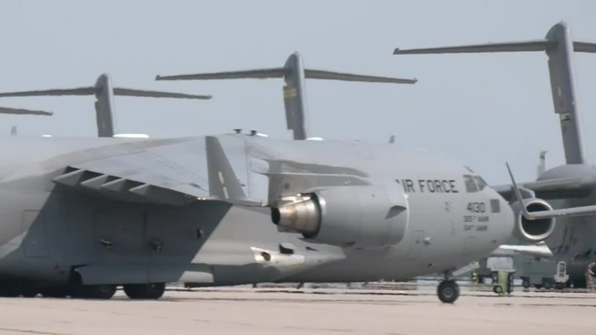 Planes carrying evacuees from Afghanistan arrive in Germany on Aug. 22, 2021.