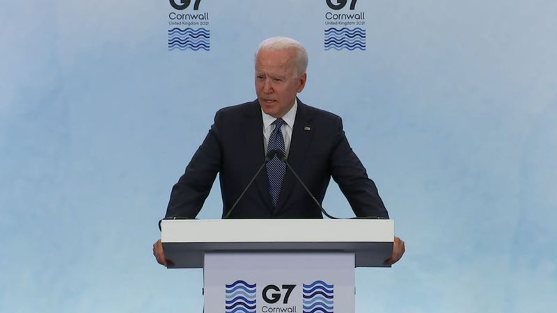 President Joe Biden speaks at a news conference following the G-7 summit.