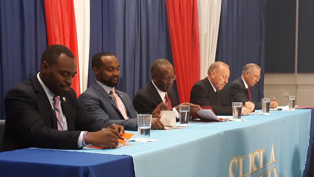 Five of Shreveport's eight mayoral candidates prepare to take part in a political forum Oct. 18...