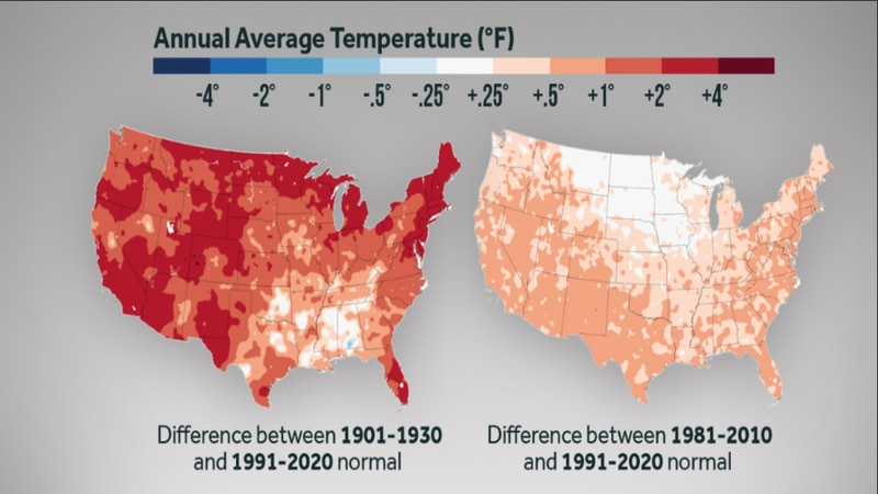 Overall the US is seeing a warming trend