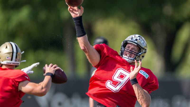 during training camp at their NFL football training facility in Metairie, La. Monday, Aug. 17,...