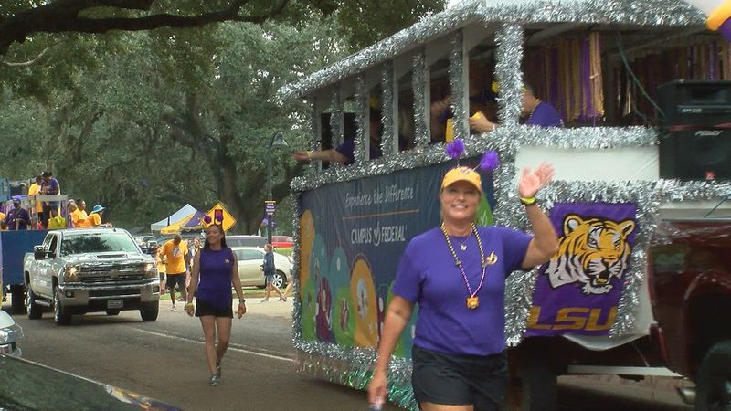 LSU's homecoming parade floated through campus before their game against Mississippi State...