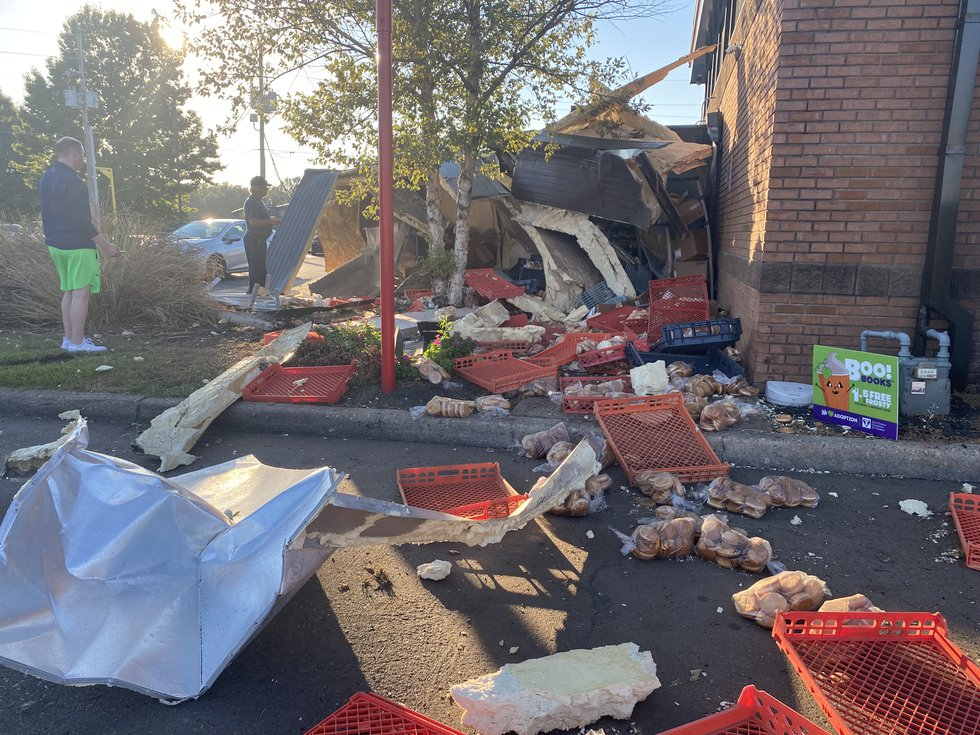 The driver of pickup truck has been arrested after crashing it into the side of the Wendy's on...