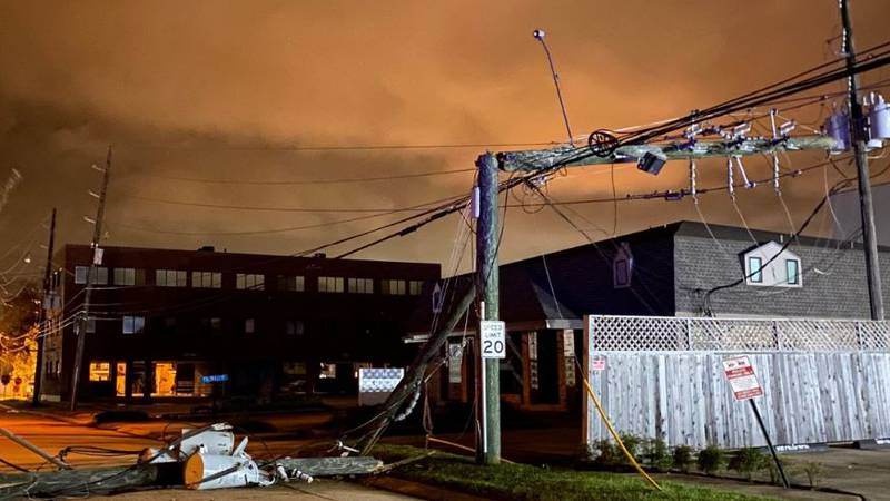 Metairie power line damage at N. Causeway and 6th Street