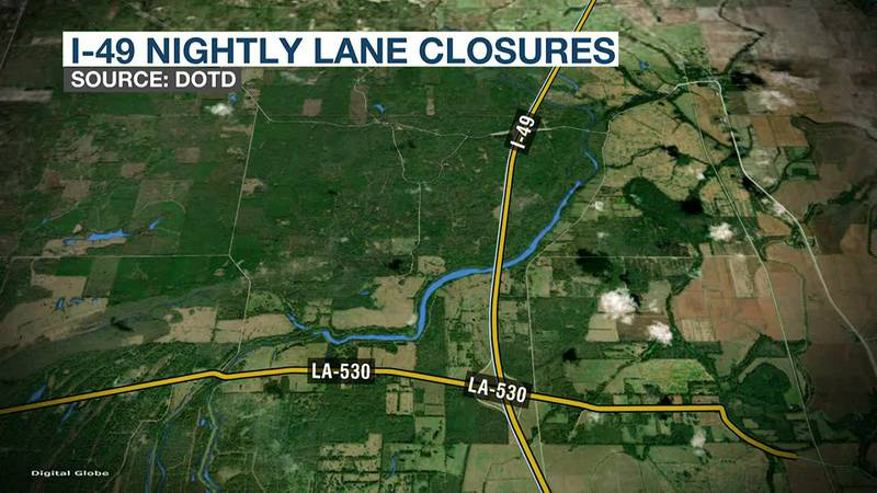 Part of I-49 to have nightly lane closures starting July 27