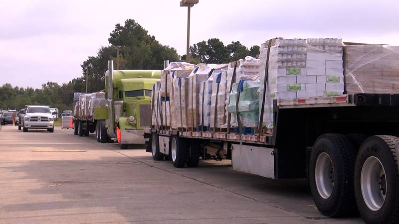 Supplies were loaded onto trailers to be delivered to Hurricane Ida victims.