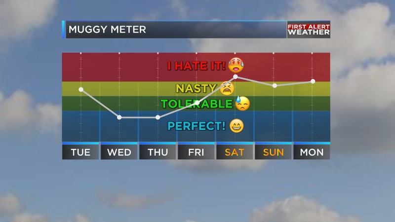 We will get a break from the oppressive humidity for the next few days across the region.