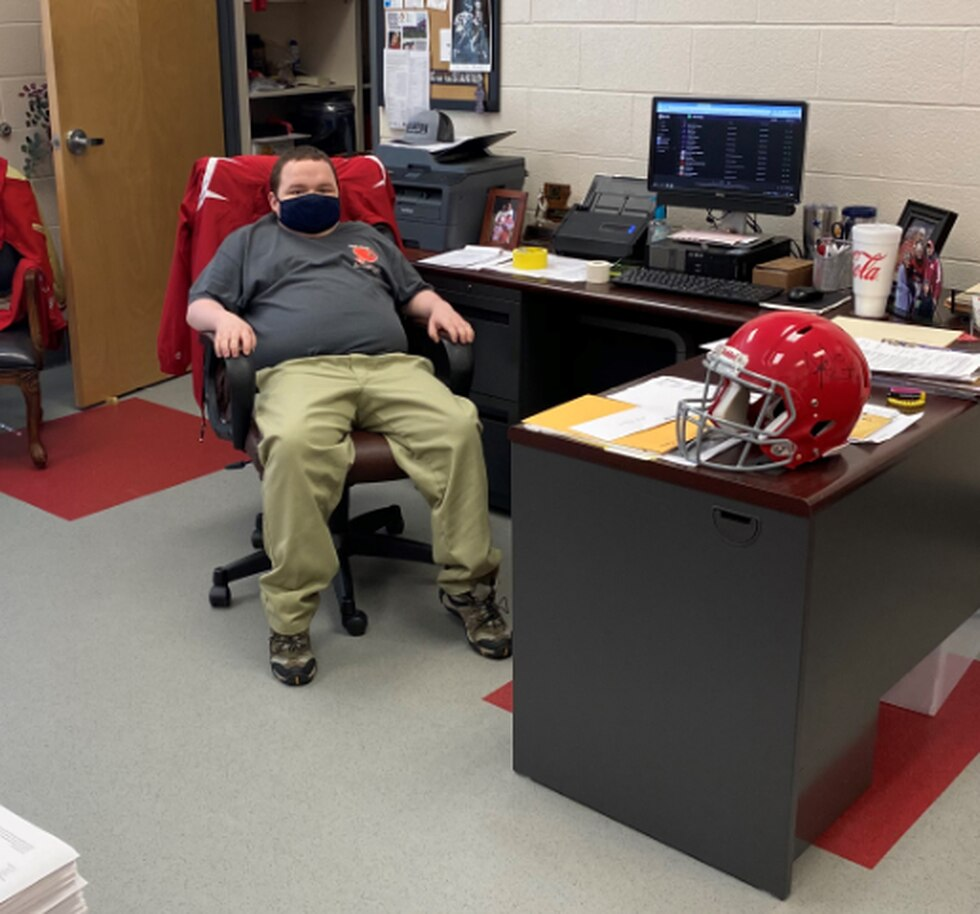 Matthew Martin 'big timing it' in Haughton head coach Jason Brotherton's office.