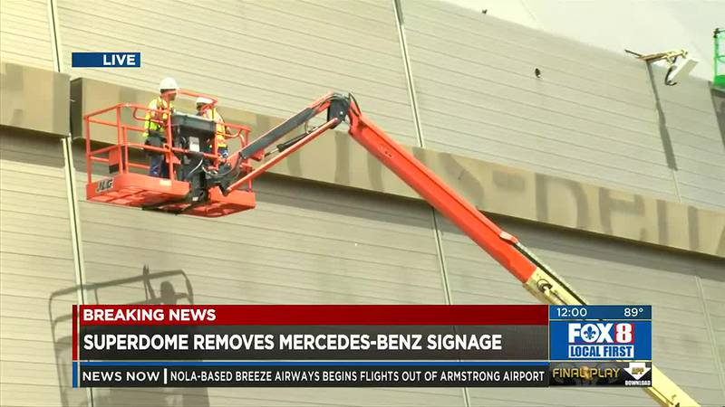 Crews removing Mercedes-Benz name from Superdome