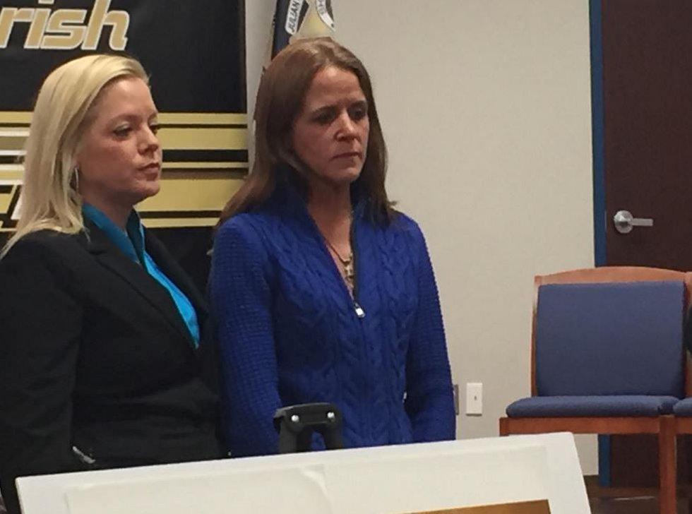 Jeanie Phelps looks on as Bossier Sheriff Julian Whittington talks about how Bossier Doe was...