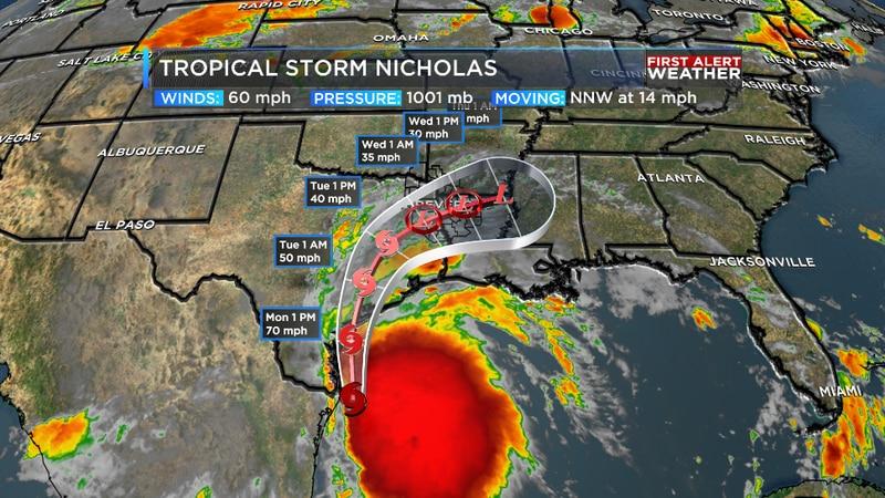 Tropical Storm Nicholas is forecast to make landfall near Corpus Christi later Monday.