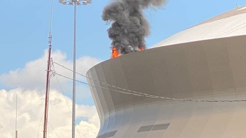 A pressure caught fire, igniting a blaze in the Superdome's gutter tub on the roof, officials...