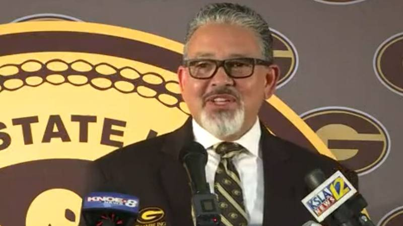 Grambling State President Rick Gallot speaks with reporters during a news conference the...