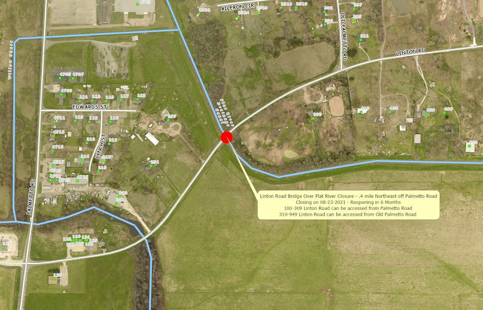 Linton Road will be closed from the intersection with Airline Drive so workers can replace the...